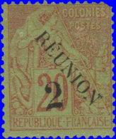 Réunion 1891. ~  YT 31* - 2 C. / 20 C. Alphée Dubois - Réunion (1852-1975)