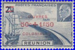 Réunion 1944. ~  YT 249* - Oeuvres Coloniales - Réunion (1852-1975)