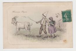 AC288 - Illustration Heureuses Pâques - Enfants Et Chèvre Blanche - Série 7010-1 - Pâques