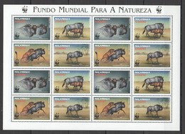 D127 1999 MOCAMBIQUE WWF FAUNA ANIMALS GNU #1757-60 !!! MICHEL 24 EURO !!! 1SH MNH - W.W.F.