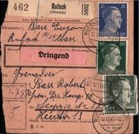 ! 1943 Paketkarte Deutsches Reich, Rufach, Elsass - Alsace-Lorraine