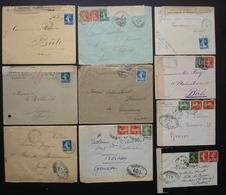 Lot De 10 Lettres Pour La Suisse Ouvertes Par L'autorité Militaires (censure) 1ere Guerre Mondiale, Différents Cachets - Storia Postale