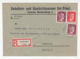 Industrie- Und Handelskammer Für Tirol Company Letter Cover Posted Registered 1941 Innsbruck B191201 - 1918-1945 1st Republic