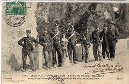 MENTON - Pont St Louis - Frontière Franco-Italienne - Douaniers Français Et Gendarmes Italiens  (117710) - Douane