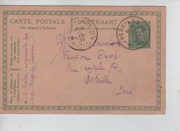 PR7633/ Entier CP 52c C.Verviers 16/4/1919 > Ostende C.Agence 12 (Etoile) Oostende En Arrivée Fortune - Postmarks With Stars