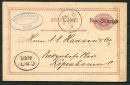 "1884 Sweden Stationery Postcard, Heintze & Wilkens, Malmo ""FRA SVERIGE"" Paquebot - Copenhagen Denmark - Sweden"