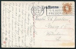 1931 Denmark Bornholm Postcard. FRA RONNE Paquebot - Copenhagen. Fredericia Slogan Machine O.M.K. Arrival Cancel - Covers & Documents