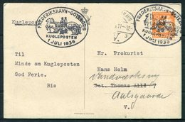 1936 Denmark S/S KRONPRINSESSAN INGRID Ship Postcard. Kugleposten Frederikshavn - Goteborg. HC Andersen Mermaid - 1913-47 (Christian X)