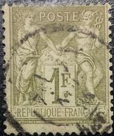 FRANCE N°82 Sage 1fr Olive Clair. Oblitéré CàD Paris - 1876-1898 Sage (Type II)