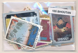 OFFER   Lot Stamp  Bhutan 100 Sellos Diferentes  (mixed Condition) - Stamps