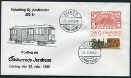 1989 Denmark Holbaek, Nykobing Sj. Postkontor Railway Train Jernbane Hafnia Cover - Covers & Documents