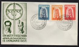 EUROPA CEPT - ROUMANIE / 1957 SERIE DE PROPAGANDE SUR ENVELOPPE FDC / RARE (ref 415) - Europa-CEPT