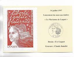 """14 Juillet 1997. Lancement Du Nouveau Timbre """" La Marianne De Luquet """"  VESOUL ( Hte-Saône ) - Biglietto Postale"""