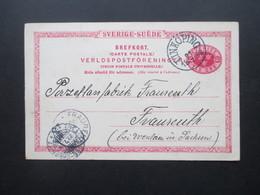Schweden 1899 Schiffspost Linie Sassnitz - Trelleborg Mit Stempel Vom 22.7.1899 Fährverbindung Porzellanfabrik Fraureuth - Schweden