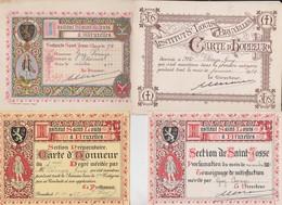 Institut Saint Louis à Bruxelles. 4 Cartes D'honneur. - Diplômes & Bulletins Scolaires