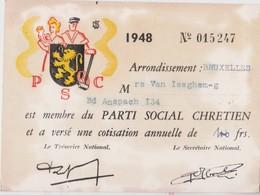 Belgique, Carte De Membre Parti Social 1948. - Documents Historiques