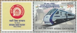 INDIA 2019 MY STAMP INTEGRAL COACH FACTORY, Vande Bharat Express, Railway, Railways, 1v + Tab  Limited Issue MNH(**) - Unused Stamps