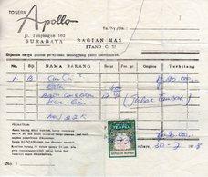 30 7 1978 Nota  Surabaya Met Kwitantiezegel - Indes Néerlandaises