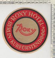 ETIQUETTE LABEL BERLIN ROXI HOTEL - Pubblicitari