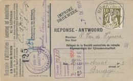 586/30 - Carte Caisse D' Epargne TP Cérès BRUGGE 1935 - Verso Cachet MEETKERKE Gemeentebestuur - 1932 Cérès Et Mercure