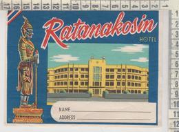 ETIQUETTE LABEL BERLIN RATANAKOSIN HOTEL BANGKOK - Pubblicitari