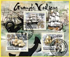 Bloc Oblitéré  - Grands Voiliers Cutty Sark Brick Duke Of Bedford Brick Hector Ship - République Togolaise 2011 - Togo (1960-...)