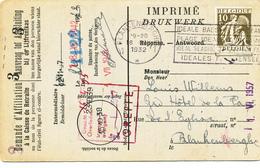 588/30 - Carte Caisse D' Epargne TP Cérès BLANKENBERGHE 1932 - Verso Cachet BLANKENBERGHE Gemeentebestuur - 1932 Cérès Et Mercure