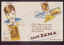 """Buvard ( 21 X 13.5 Cm ) """" Café Zama """" ( Pliure, Rousseurs ) - Café & Thé"""