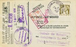 590/30 - Carte Caisse D' Epargne TP Cérès CHIMAY 1934 - Verso Cachet MOMIGNIES Administration Communale - 1932 Cérès Et Mercure
