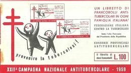 """6059 """" ERINNOFILI-XXII CAMPAGNA NAZIONALE ANTITUBERCOLARE-1959-LIBRETTO DI 10 FRANCOBOLLI"""" - Erinnofilia"""