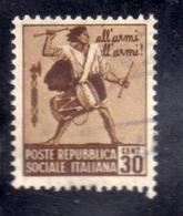 ITALIA REGNO ITALY KINGDOM REPUBBLICA SOCIALE ITALIANA RSI 1944 1945 MONUMENTI DISTRUTTI CENT. 30c USATO USED OBLITERE' - Afgestempeld