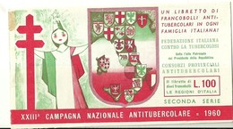 """6060 """" ERINNOFILI-XXIII CAMPAGNA NAZIONALE ANTITUBERCOLARE-1960-SECONDA SERIE-LIBRETTO DI 10 FRANCOBOLLI"""" - Erinnofilia"""