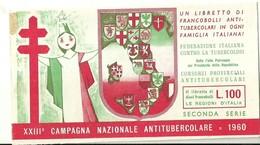 "6060 "" ERINNOFILI-XXIII CAMPAGNA NAZIONALE ANTITUBERCOLARE-1960-SECONDA SERIE-LIBRETTO DI 10 FRANCOBOLLI"" - Vignetten (Erinnophilie)"
