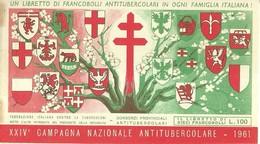 """6061 """" ERINNOFILI-XXIV CAMPAGNA NAZIONALE ANTITUBERCOLARE-1961-LIBRETTO DI 10 FRANCOBOLLI"""" - Erinnofilia"""