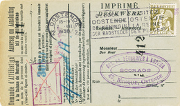 594/30 - Carte Caisse D' Epargne TP Cérès OOSTENDE 1936 - Vers S.A. Pecheries à Vapeur Ecorage à OSTENDE - 1932 Cérès Et Mercure