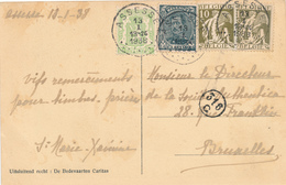 596/30 - Carte Fantaisie TP Cérès , Albert Et Petit Sceau ( 3 émissions !!! ) ASSESSE 1938 Vers BXL - 1932 Cérès Et Mercure