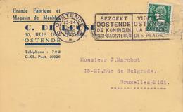 598/30 - Carte Privée TP Mercure OOSTENDE 1935 - Entete Fabrique Et Magasin De Meubles De Roose - 1932 Cérès Et Mercure