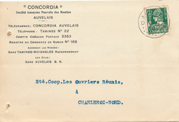 599/30 - Carte Privée TP Mercure AUVELAIS 1936 - Entete S.A. Des Moulins Concordia - Gare Tamines-Moignelée - 1932 Cérès Et Mercure