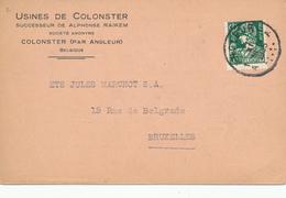 600/30 - Carte Privée TP Mercure ANGLEUR 1935 - Entete Usines De COLONSTER - 1932 Cérès Et Mercure