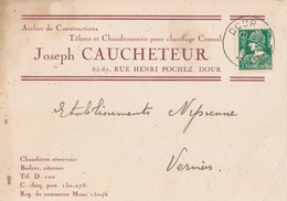 601/30 - Carte Privée TP Mercure DOUR - Entete Tolerie Chaudronnerie Joseph Caucheteur , Rue Pochez - 1932 Cérès Et Mercure