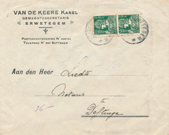 602/30 - Enveloppe TP Mercure ERWETEGEM 1935 - Entete Gemeentesecretaris Karel Van De Keere - 1932 Cérès Et Mercure
