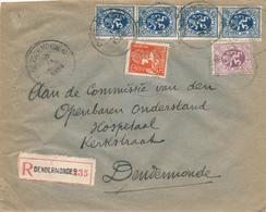 603/30 - Enveloppe Recommandée TP Mercure Et Lion Héraldique DENDERMONDE 1935 - TARIF EXACT 2 F 45 - 1932 Cérès Et Mercure