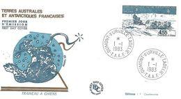 FDC  TAAF Dumont D'Urville-Terre Adélie Poste Aérienne N°74 Traineau à Chiens - 01/01/1983 - Timbres