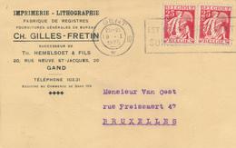 604/30 - GENT - GAND - 2 Cartes Privées 1934/35 TP Cérès Cachet Mécanique GENT 10 , 1 Droit , 1 Inversé - 1932 Cérès Et Mercure