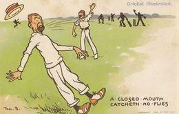 Tom Browne Cricket A Closed Mouth Catcheth No Flies Comic Postcard - Críquet