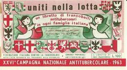 """6063 """" ERINNOFILI-XXVI CAMPAGNA NAZIONALE ANTITUBERCOLARE-1963-PRIMA SERIE-LIBRETTO DI 10 FRANCOBOLLI"""" - Vignetten (Erinnophilie)"""
