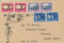 South Africa FDC 3-12-1945 Victory Set Of 3 In 3 Pairs On Cover Sent To Pretoria (the Cocer Is Light Bended In The Left - South Africa (...-1961)