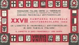 """6065 """" ERINNOFILI-XXVII CAMPAGNA NAZIONALE ANTITUBERCOLARE-1964-LIBRETTO DI 10 FRANCOBOLLI"""" - Erinnofilia"""