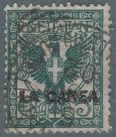 "Levante - La Canea (Isola Di Creta): Francobollo D' Italia ""Floreale"" 5 C. Verde Azzurro - 1905 - 11. Oficina De Extranjeros"