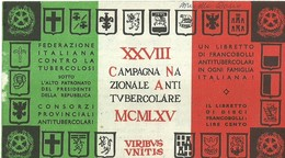 """6066 """" ERINNOFILI-XXVIII CAMPAGNA NAZIONALE ANTITUBERCOLARE-1965-LIBRETTO DI 10 FRANCOBOLLI"""" - Erinnofilia"""